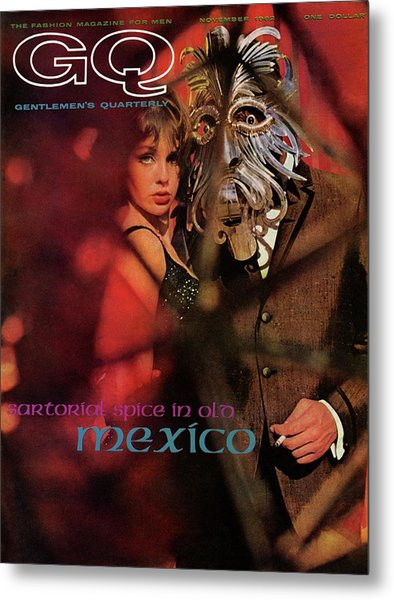 A Gq Cover Of A Model Wearing A Mask Metal Print