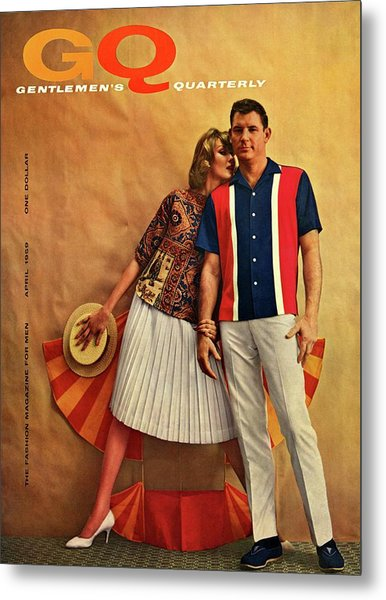 A Gq Cover Of Male And Female Models Metal Print