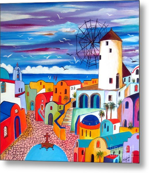 A Greek Mill And The Colors Of Oia Santorini  Metal Print