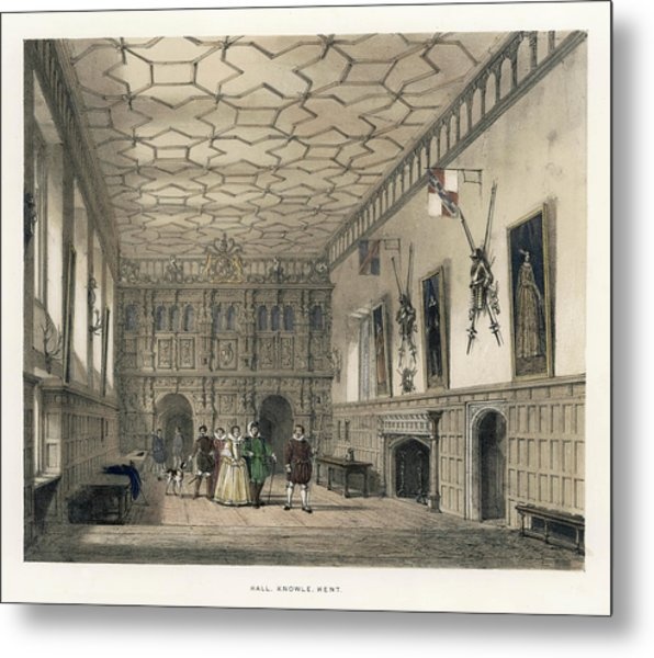 A Group Of Aristocrats In The  Hall Metal Print by Mary Evans Picture Library