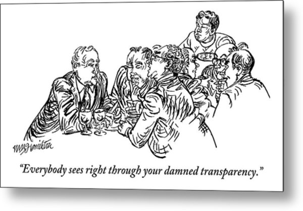 A Group Of Drinking And Smoking Men Gather Metal Print