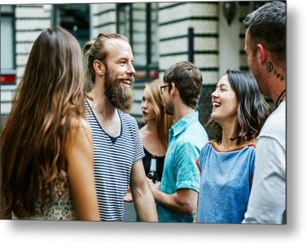A Group Of Friends Meeting Together At Barbecue Metal Print by Hinterhaus Productions