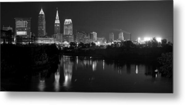 A Hazy Cleveland Night At Progressive Field Metal Print