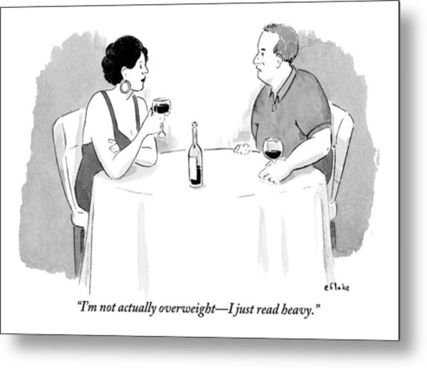 A Heavyset Man Talks To His Date At A Dinner Metal Print