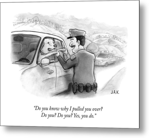 A Highway Police Officer Pulls Over And Plays Metal Print