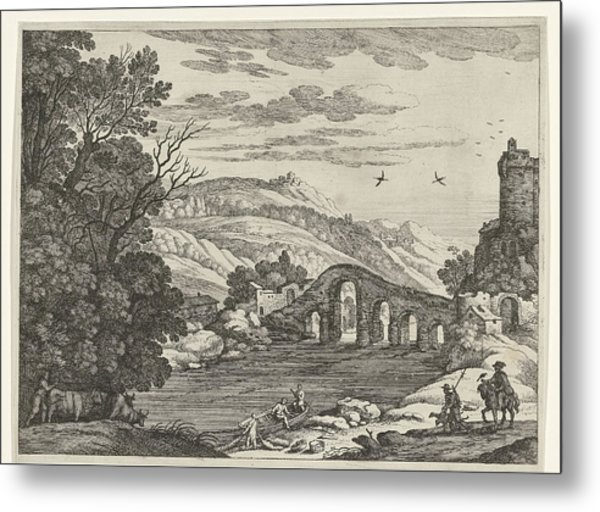 A Hilly Landscape Is Crossed By A River, Over The River Metal Print