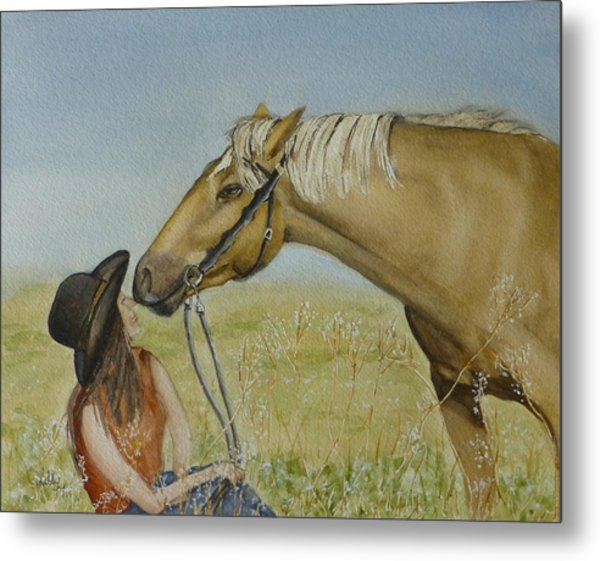 A Horses Gentle Touch Metal Print