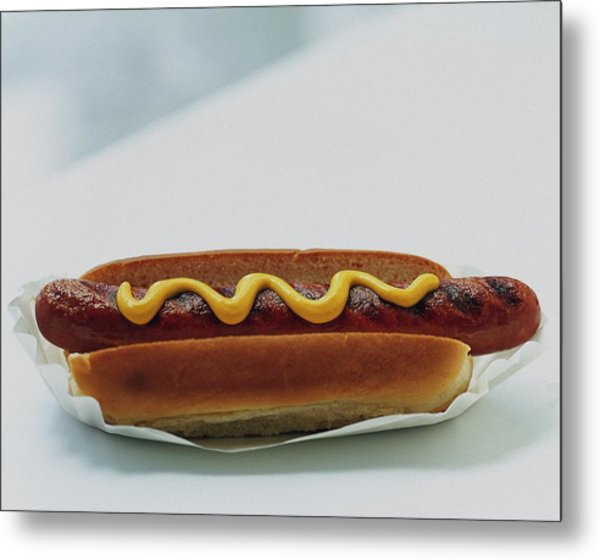 A Hot Dog With Mustard Metal Print