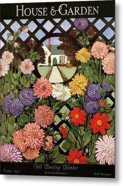 A House And Garden Cover Of Flowers Metal Print