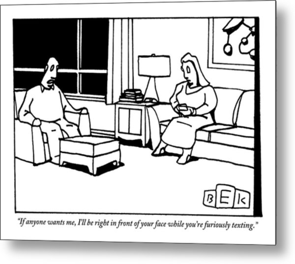 A Husband And Wife Sit In Their Living Room Metal Print