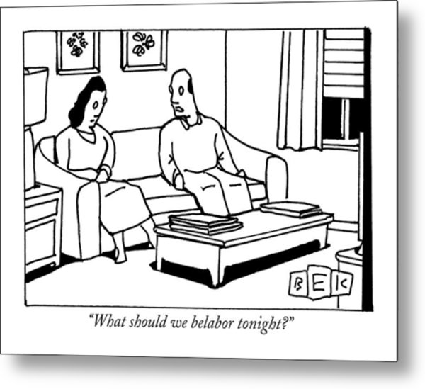 A Husband Talks To His Wife In Their Living Room Metal Print