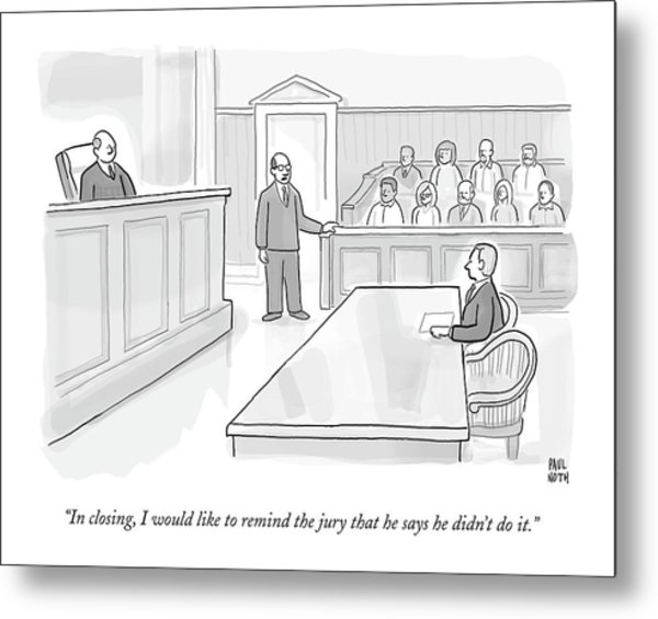 A Lawyer In Court Addresses The Jury Metal Print
