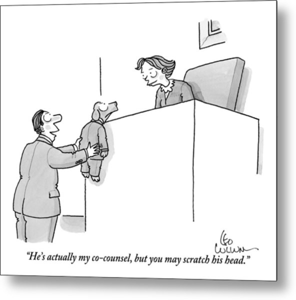A Lawyer Is Seen Holding A Dog In A Suit Metal Print