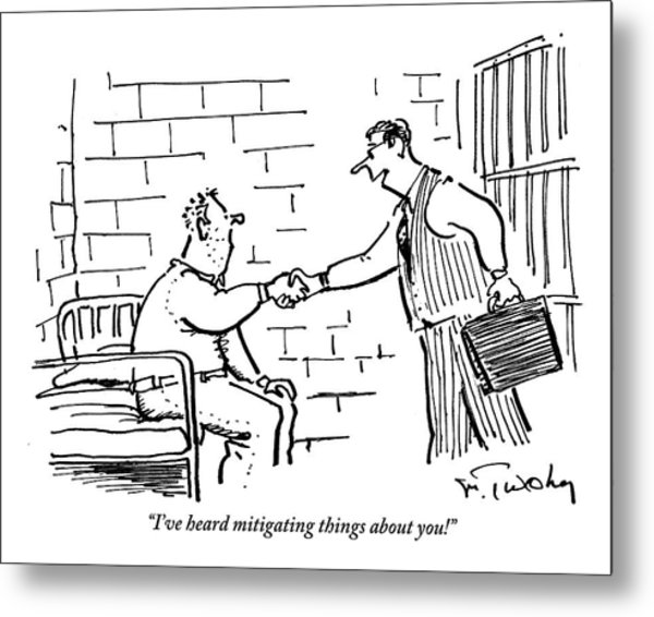 A Lawyer With A Briefcase Shakes The Hand Metal Print