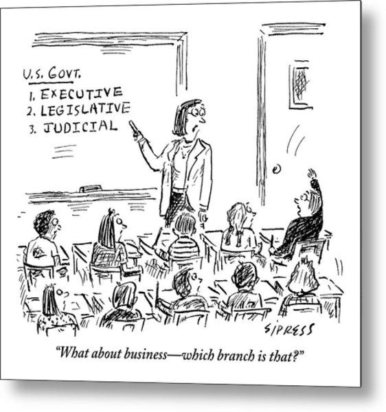 A Little Boy Asks His Teacher In The Classroom Metal Print