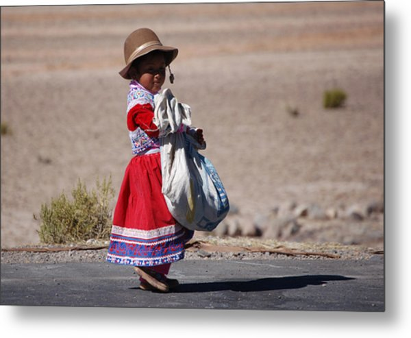 A Little Girl In The  High Plain Metal Print