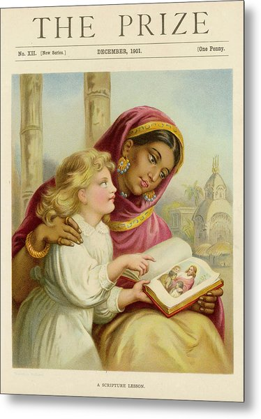 A Little White Girl Teaches An  Asian Metal Print by Mary Evans Picture Library