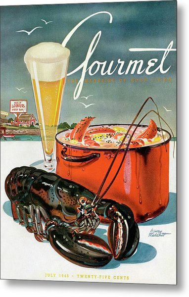 A Lobster And A Lobster Pot With Beer Metal Print