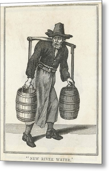 A London Water Carrier With Two Barrels Metal Print by Mary Evans Picture Library