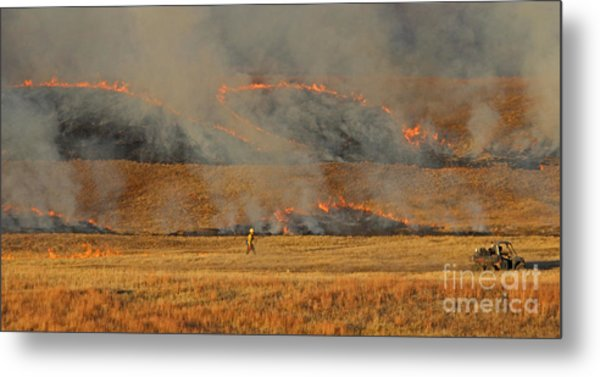 A Lone Firefighter On The Norbeck Prescribed Fire. Metal Print