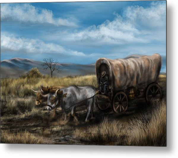 A Long Journey - Covered Wagon On The Prairie Metal Print