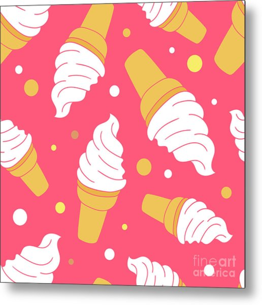 A Lot Of Ice Cream Hand Drawn Metal Print by Talirina