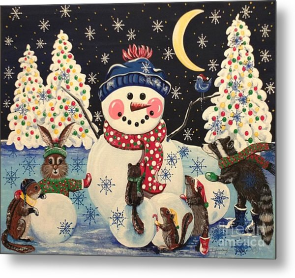 A Magical Night In The Snow Metal Print