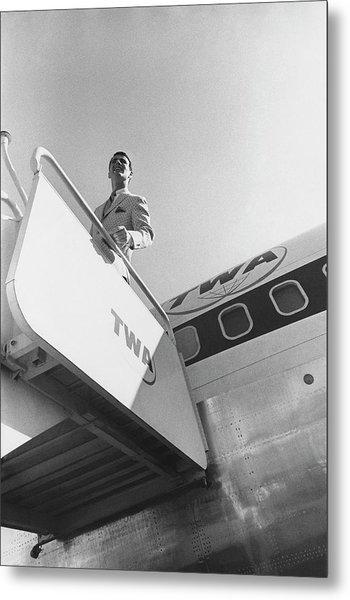 A Male Model Disembarking A Twa Boeing 707 Plane Metal Print