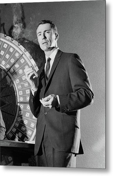 A Male Model Wearing A Dark Pinstriped Suit Metal Print by Richard Waite