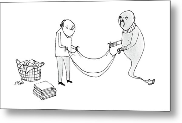 A Man And A Genie Work Together To Fold Laundry Metal Print