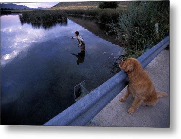 A Man And His Dog Fly Fishing Metal Print