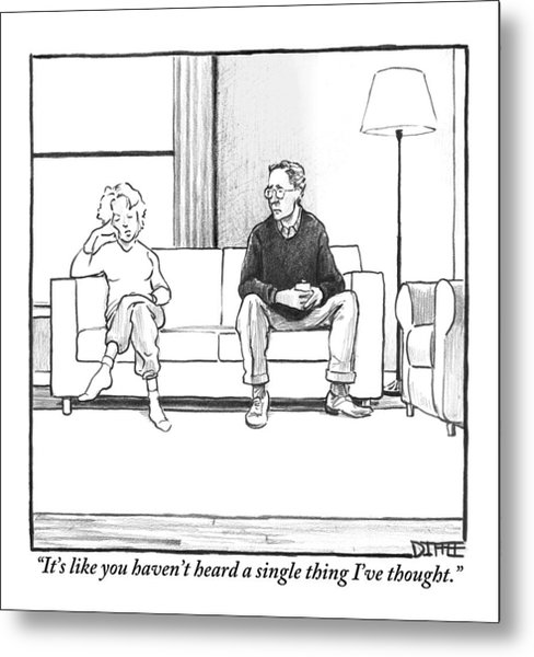 A Man And Woman Sit Next To Each Other On A Couch Metal Print