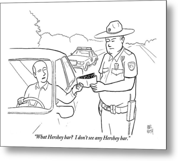 A Man Attempts To Bribe A Traffic Police Officer Metal Print