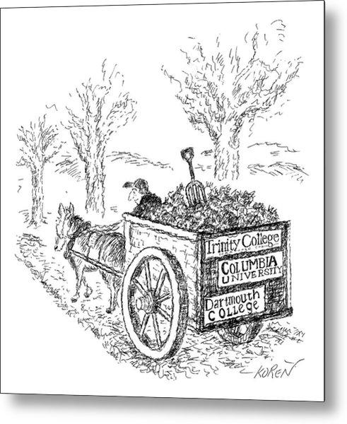 A Man Drives A Horse-drawn Cart With Bumper Metal Print