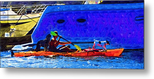 A Man His Kayak And His Dogs Metal Print