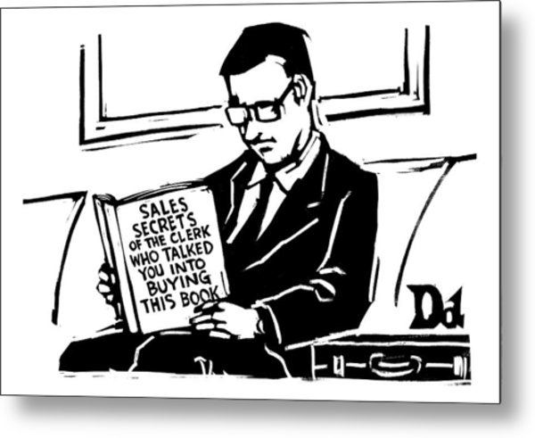 A Man In A Suit Reads A Book With The Title: Metal Print