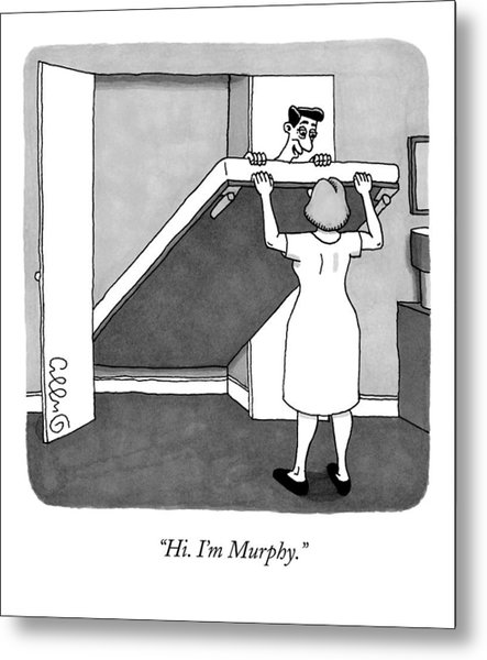 A Man Is Laying On The Murphy Bed That A Woman Metal Print