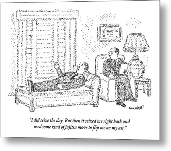 A Man Is Laying On The Psychiatrist's Couch Metal Print