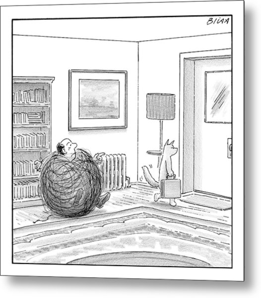 A Man Is Stuck In A Yarn Ball And His Cat Leaves Metal Print