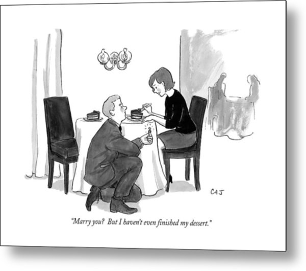 A Man Proposes To A Woman In A Restaurant Metal Print