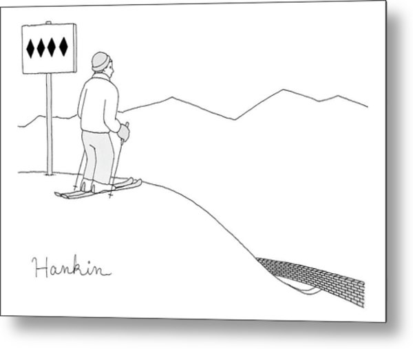 A Man Stands At The Top Of A Ski Slope Metal Print