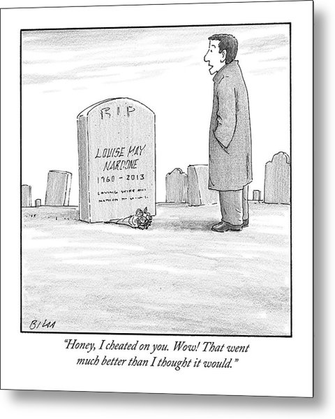A Man Stands In Front Of A Woman's Tombstone Metal Print
