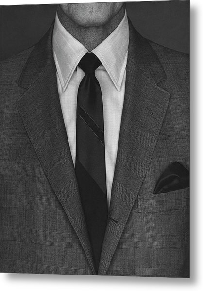 A Man Wearing A Suit Metal Print by Peter Scolamiero