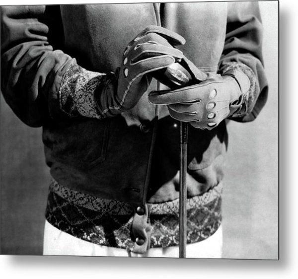 A Man Wearing Gloves Metal Print by Edward Steichen