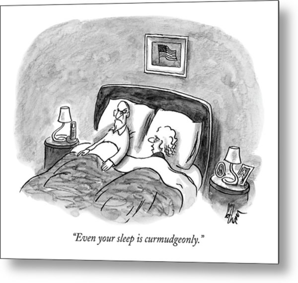 A Married Couple Talks In Bed Metal Print