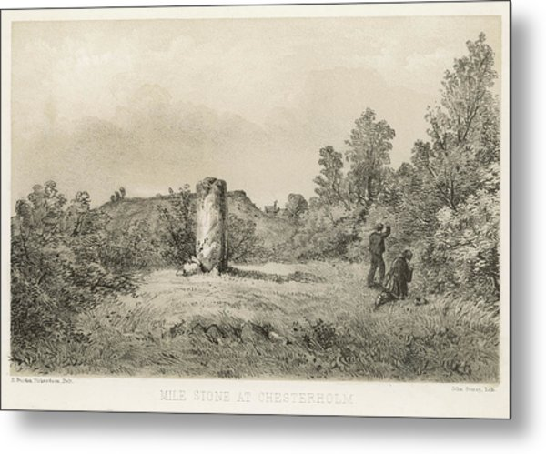 A Mile Stone At Chesterholm,  The Site Metal Print