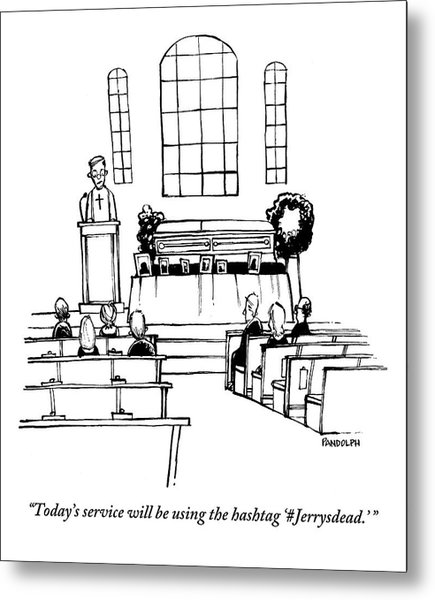 A Minister Speaks At A Funeral Service Metal Print by Corey Pandolph