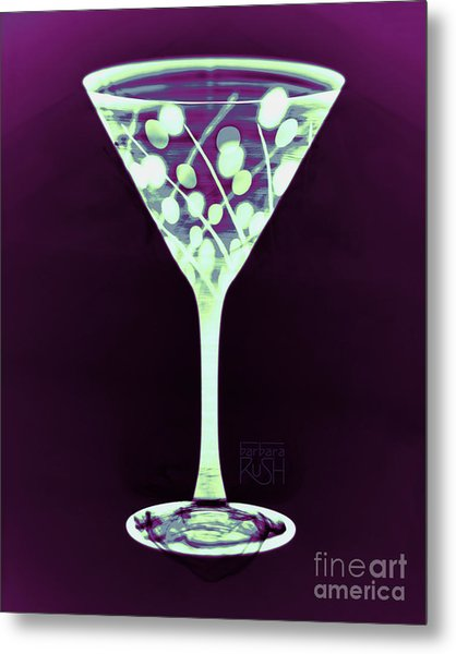 A Mint Martini On Plum Metal Print
