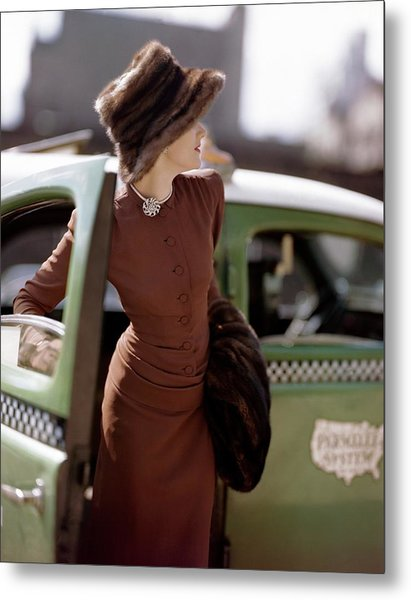 A Model Getting Out Of A Cab Metal Print