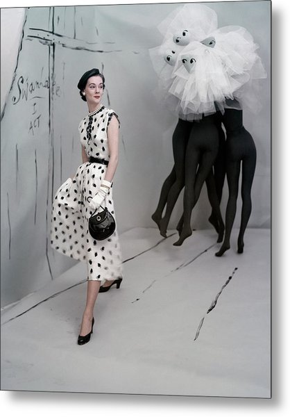 A Model In A Mollie Parnis Dress Metal Print by Horst P. Horst